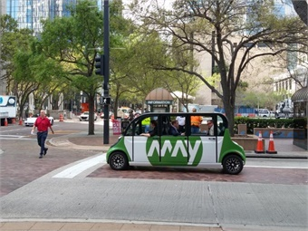 The Michigan-based May Mobility vehicle fleet traversed city streets and Marion Transit Way corridor with passengers to demonstrate the technology in a real-world scenario.