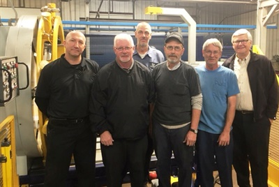 Hancock County Tire & Retreading has joined the Marangoni dealer network. Bob Majewski, chief technical officer at Sumerel Tire Service, which owns the operation, is pictured at far right with employees in the retread shop.