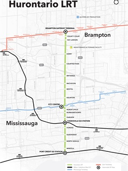The Hurontario LRT is an approximately 11-mile, 19-stop light rail transit system that runs along Hurontario Street from Port Credit in Mississauga to Gateway Terminal in south Brampton.