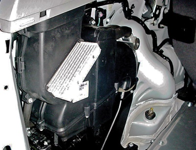 Some high-voltage battery packs are air-cooled, while others are cooled by the vehicle's air conditioning system. The battery on this Ford Escape has its own A/C evaporator. Most have an air filter that should be changed when changing the cabin air filter.