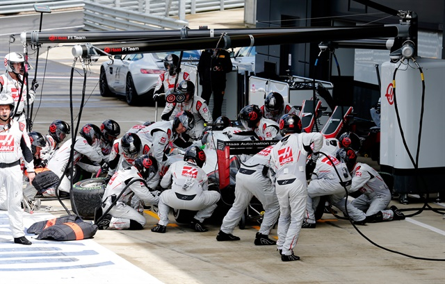 With the changable weather conditions the Haas pitbox was a busy place during the British Grand Prix.