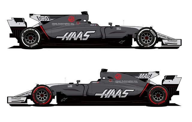 The Haas VF-17 models it's new suit.