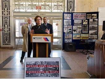 """NJ TRANSIT Executive Director Veronique """"Ronnie"""" Hakim and NJ TRANSIT representatives were joined by elected officials, customers and community members for the festivities."""
