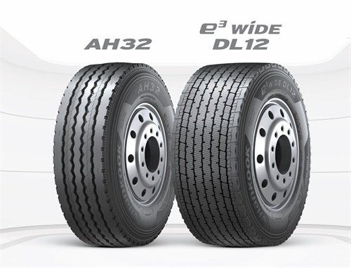 Hankook says the new wide-base AH32 (left) and DL12 offer wider contact patches enabling a higher tread volume enhancing fuel efficiency, safety and performance for regional and long-haul applications.
