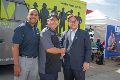 (from left): Brian Cowart, chief development officer of the DAV is with with Larry Cantu, who served 20 years in the Army and is the senior vice commander of the local DAV chapter #45, and Jay Kim, vice president of corporate strategy for Hankook, at the Hankook-DAV MSO Stop at Gateway Tire & Service Center in Clarksville, Tenn.