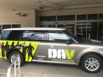 The Hankook-branded DAV Transportation Network vehicle is the only vehicle permanently stationed at the healthcare system's Nashville campus.