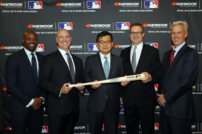 The 2018 MLB season begins with a new Official Tire: Hankook. At the announcement was, from left, MLB Network Analyst Harold Reynolds, MLB Executive Vice President of Commerce Noah Garden, President of Hankook Tire America Hosung Suh, Senior Sales Director of Hankook Jim Sicking, and MLB Senior Vice President of Sponsorship Sales Bill Morningstar.