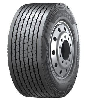 Hankook says the e3 WiDE DL21 uses three-dimensional siping along with a closed shoulder design to increase fuel efficiency and tread wear. It is available in size 445/50R22.5.