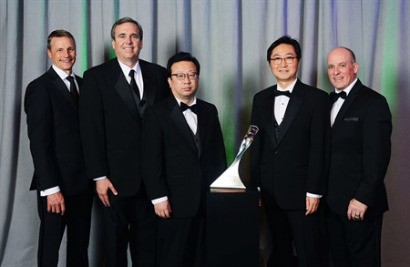 Hankook received its first-ever GM Supplier of the Year Award. Pictured at the ceremony are (l to r): Wade Sheffer, executive director, GM global chassis purchasing; Eric Shirley, sales director Hankook Tire NA OE division; Changwon Park, Hankook Tire VP global OE sales; HJ Kim, vice president America OE division; and James Danahy, global functional leader GM chassis engineering.