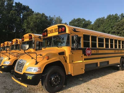 Harris County (Ga.) School District received 11 new diesel-powered Blue Bird school buses, some of which are shown here. Photo courtesy Rachel Crumbley