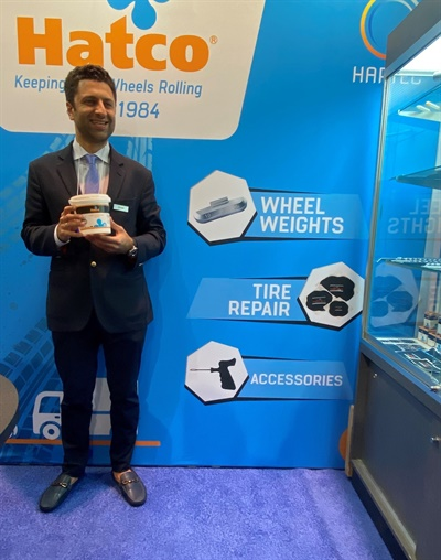 Nader Dernaika displays a Hatco mounting paste. Hatco brand tire repair materials, cements, mouting pastes and wheel weights are available in four continents.