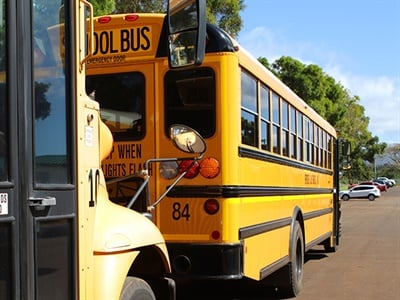 All Maui school bus routes are now restored. The state is now focusing on returning consolidated routes to normal, and aims to hire more drivers. Photo courtesy Hawaii State Department of Education