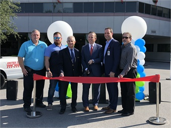 Florida Hospital North Pinellas, soon to be AdventHealth North Pinellas, City of Tarpon Springs, and Pinellas Suncoast Transit Authority officials cut the ribbon on the program, Healthy Hop brought to you by AdventHealth North Pinellas and the City of Tarpon Springs.