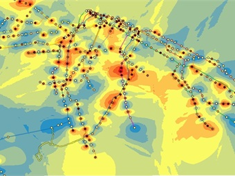 Heatmap of the Pseudomonas genus, the most abundant genus found across the city. Hotspots are found in areas of high station density and traffic (i.e. lower Manhattan and parts of Brooklyn).Photo: Ebrahim Afshinnekoo