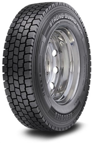Hercules says the new Strong Guard HDO regional drive tire has an open shoulder tread design to promote self-cleaning while enhancing traction in all road conditions.