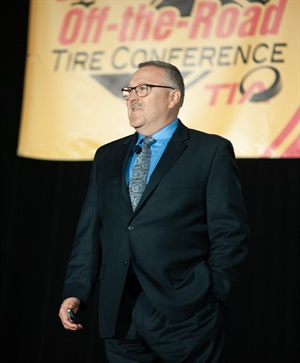 Shawn Rasey, director of global business development, earthmover, Continental Tire the Americas LLC, told attendees of TIA's Off-the-Road Tire Conference that you need to control your own destiny and adapt and overcome. Courtesy of Peter Kuhn Photography