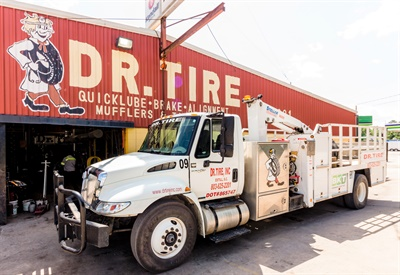 """The Bosticks prefer to market the Dr. Tire name and logo rather than the tire brands they sell. """"We can get any brand,"""" says Joe Bostick. """"I don't want people to think they can only get the brands we keep in stock."""" Courtesy of Dr. Tire Inc."""
