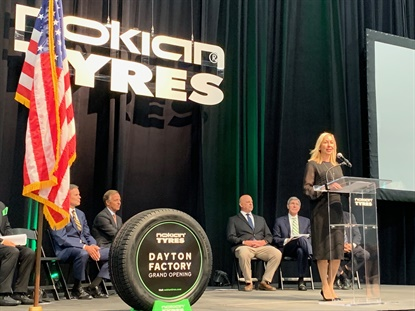 "Hille Korhonen, CEO of Nokian Tyres, said the opening of the North American factory is ""the most important milestone in our growth journey."""