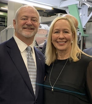 "Hille Korhonen, CEO of Nokian Tyres, said the opening of the North American factory is ""the most important milestone in our growth journey."" She's pictured with Mark Earl, senior vice president of North America."