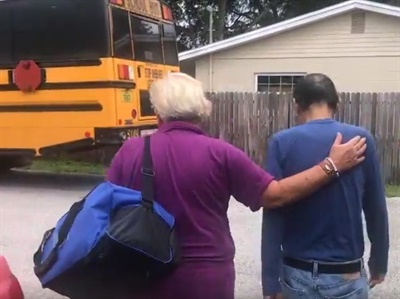Hillsborough County (Fla.) Public Schools bus drivers helped evacuate residents before Hurricane Irma hit. Screenshot from Hillsborough County Public Schools video