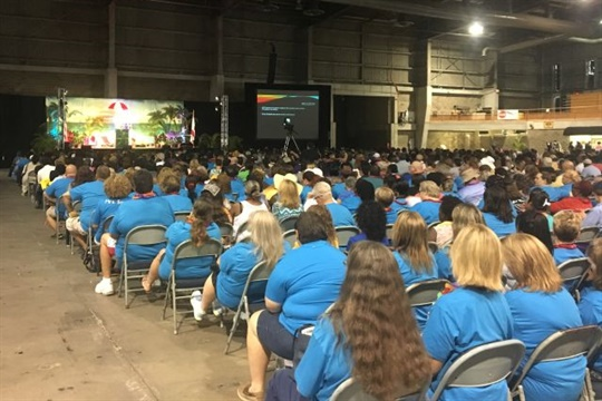 "Hillsborough County (Fla.) Public Schools' back-to-school training event covered such topics as customer service and ""How Not to Be Confined by Your Title."""