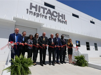 Cutting the ribbon at the Opening Ceremony: (from left to right) Maurizio Manfellotto, CEO, Hitachi Rail Italy; Kentaro Masai, COO, Hitachi Rail Global; Honorable Daniella Levine Cava, Board of County Commissioners, District 8; Honorable Gloria Bellelli, consul general, Italian Republic, Mayor of Medley, Fl.; Carlos A. Gimenez, Mayor, Miami-Dade County; Giampaolo Nuonno, CEO, Hitachi Rail USA; Charles Scurr, executive director, Citizens Independent Transportation Trust; Alice N. Bravo, PE, director, Department of Transportation and Public Works.