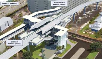 A rendering of the proposed Honolulu airport station.