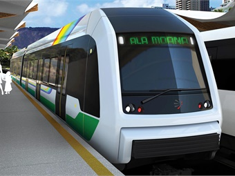 A rendering of Honolulu's future light railcars.HART