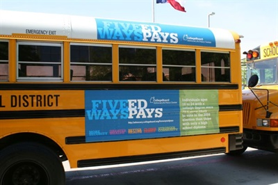 A Virginia bill would let school boards display ads on school buses between the rear wheels and the rear of the bus. Shown in this file photo is a Houston (Texas) Independent School District bus displaying an ad.