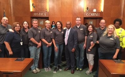 Houston Mayor Sylvester Turner (in suit) recognized the STA team at City Hall.