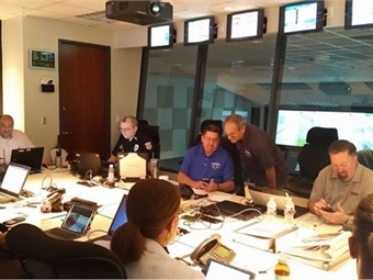 A view of Houston Metro's Emergency Operations Center during Hurricane Harvey. Lambert is shown seated in center. Photo: Metro
