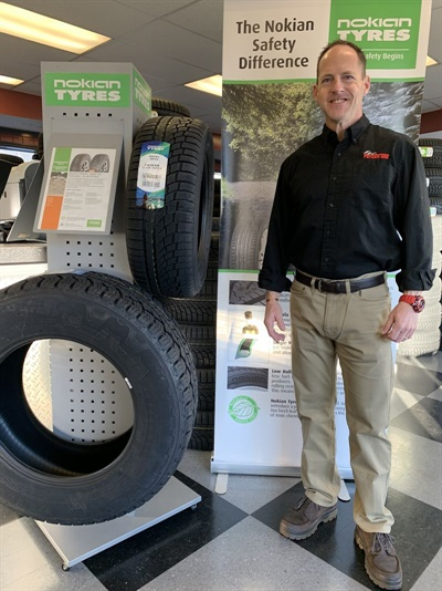 Howie Fetzer says sales of winter tires at his Fairfield, Conn., store have been soft this year due to mild weather. Photo courtesy Fetzer Tire