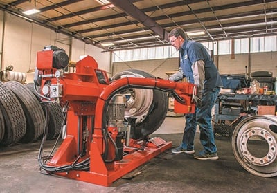Hunter says the TCX625 heavy-duty tire changer's pedal-controlled inner roller saves the operator time and effort to bring service times that are comparable to manual methods, but are much safer. The machine combines a compact size with a unique mount/demount roller mechanism.