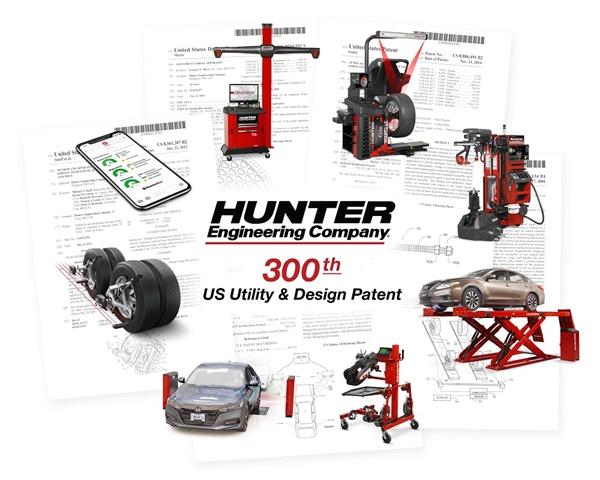 Hunter Engineering Co. has earned its 300th U.S. patent for undercar service equipment.
