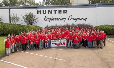30,000 RX scissor lifts have been produced by Hunter employees at the Durant, Miss., plant.