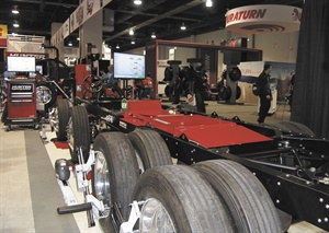 Hunter attached its heavy-duty aligner to a truck chassis to demonstrate its capabilities at the 2016 Specialty Equipment Market Association Show. A sensor is placed on each wheel, and live readings display on the computer screen as technicians make adjustments. The machine also performs an alignment check in under four minutes.