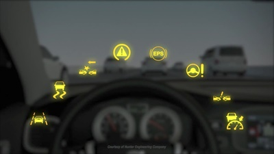 Failure to properly align safety systems can result in dashboard warning lights, says Hunter Engineering.