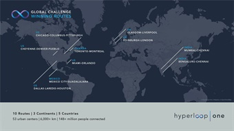 Hyperloop One will commit meaningful business and engineering resources and work closely with each of the winning teams/routes to determine their commercial viability. Image: Hyperloop One