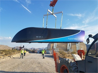 In addition to announcing the private test, Hyperloop One also unveiled the prototype of its Pod that will work within the integrated system. Photo: Hyperloop One