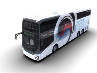 Hyundai's all-new electric double-decker bus debuted at the 'Land, Infrastructure and Transport Technology Fair' held in Korea May 29 to 31, 2019. Hyundai