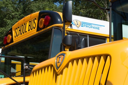 The propane buses ordered by Franklin County Schools are IC Bus CE Series models, as seen here.
