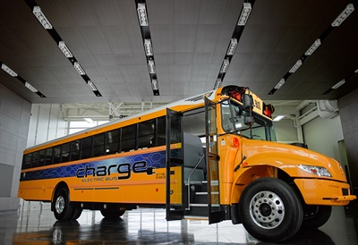 IC Bus parent company Navistar has launched a new business unit to deliver customized electrification solutions for commercial vehicles, including school buses. Shown here is an IC Bus chargE electric bus. File photo courtesy IC Bus