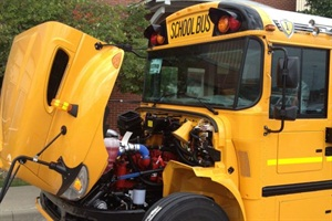 The first available CE Series school buses with the Cummins ISB6.7 engine were produced at the IC Bus Tulsa, Okla., plant last week.