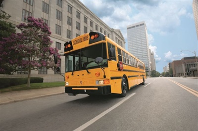 Seven dealers won the IC Bus Pursuit of Excellence award, and Mid-State Truck Service Inc. won the Diamond Dealer award. Shown here is the manufacturer's RE Series school bus.