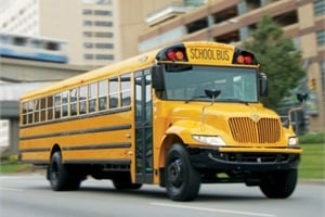 IC Bus CE Series school buses (pictured) and International DuraStar trucks with the Cummins ISB engine will be Navistar's first medium-duty vehicles with SCR emissions aftertreatment.