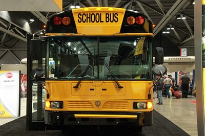 Among the new offerings that IC Bus showcased at the NAPT trade show was the addition of the Cummins L9 engine to its RE Series school bus, shown here.