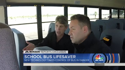 "Trish Reed, vice president and general manager of IC Bus, walked investigative journalist Jeff Rossen through how new safety technologies can keep school buses out of danger on the ""Today"" show. Shown here is a screen shot from the show."