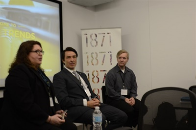 Macro trends panelists and moderator Jessica Dixon of IC Bus, share the benefits of Wi-Fi equipped school buses.
