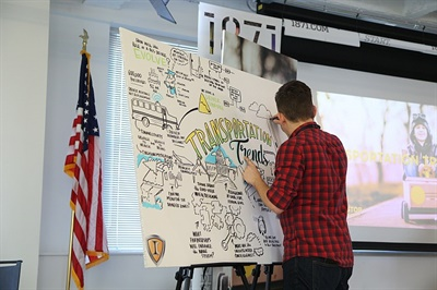 IC Bus had an artist on hand to provide illustrations of each panel discussion.