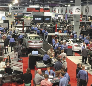 Easily recognizable in blue oxford shirts, Hunter Engineering Co. employees demonstrated wheel aligners, balancers, lift racks, tire changers, brake lathes, inspection equipment, and other products in the company's booth, one of the largest at the SEMA Show.